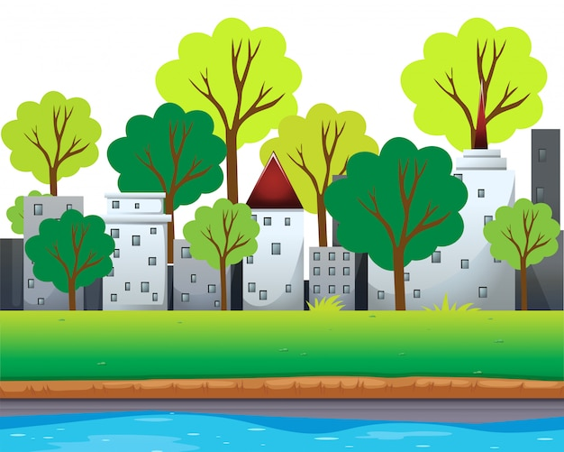 City buildings and trees along the river