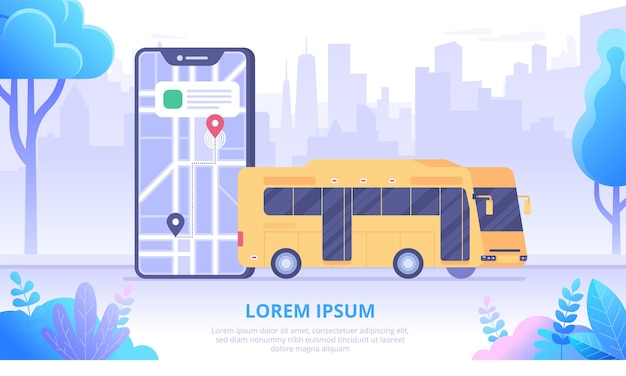 City bus and map app flat banner vector template. cartoon mobile phone and public transportation on skyscrapers background. urban traffic tracking application. online transport system