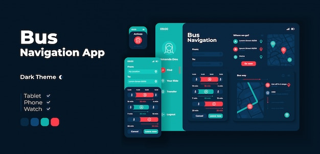 City bus navigation app screen  adaptive design template