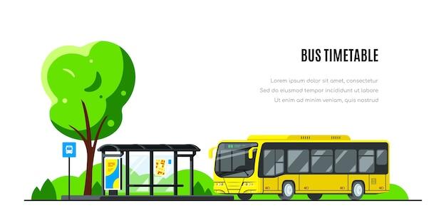 버스 정류장에서 시내 버스. 버스 시간표.