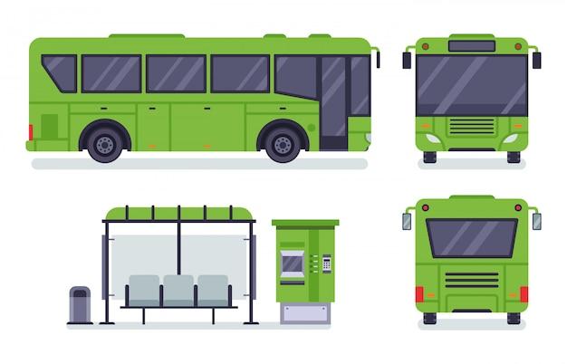 Городской автобус. остановка общественного транспорта, билетная касса автобуса и набор иллюстраций автобусов
