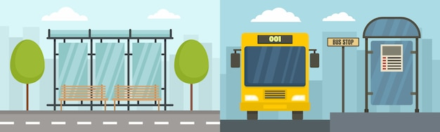 City bus stop banner set