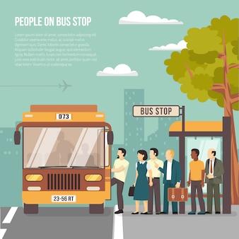 Городская автобусная остановка flat poster