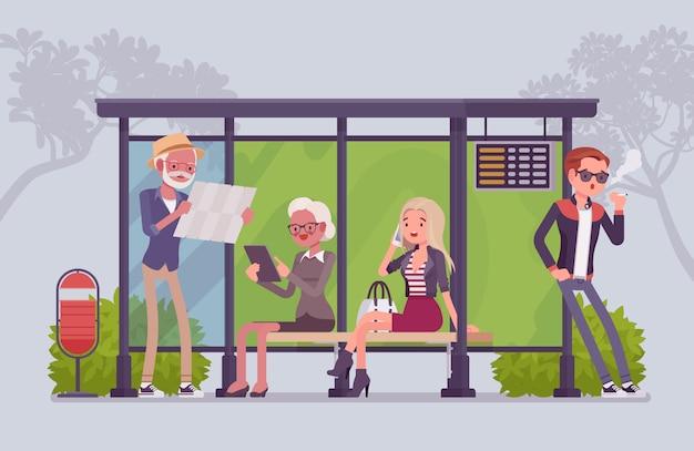 시내 버스 정류장 사람들. 시민의 다양한 그룹, 승객은 도시에서 대중 교통을 기다리고, 기대 시간을 보냅니다. 스타일 만화 일러스트 레이션