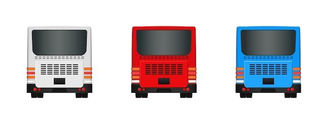 Шаблон городского автобуса. установите вид сбоку пассажирского транспорта сзади и спереди. векторная иллюстрация eps 10 на белом фоне.