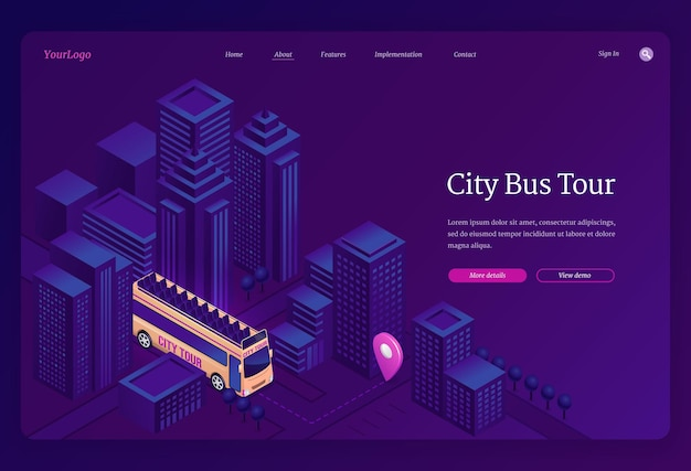 City bus tour isometric landing page.
