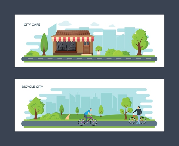 City cafe and bicycle city  illustrations