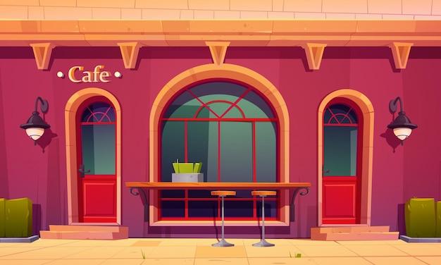 Городское кафе, кофейня, внешний вид с открытой барной стойкой и высокими стульями, иллюстрации шаржа