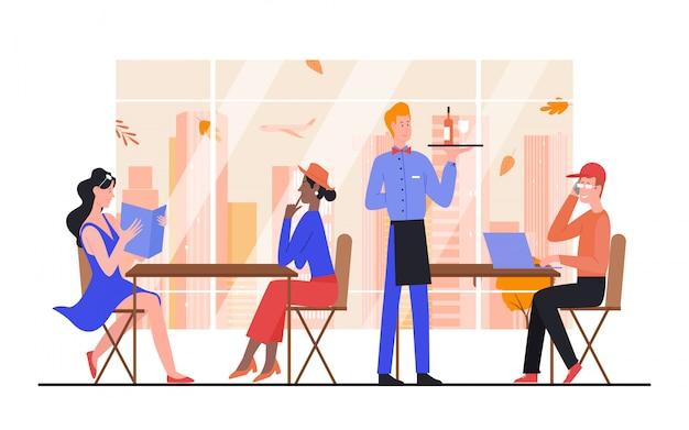Иллюстрация людей городского кафе. герои мультфильмов мужчина женщина держит меню, заказывая винный напиток у официанта в интерьере кафетерия с панорамным окном, осенний городской пейзаж на белом