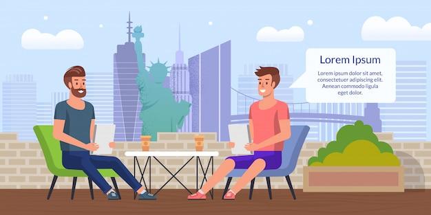Бизнес-ланч в city cafe плоский векторный концепт