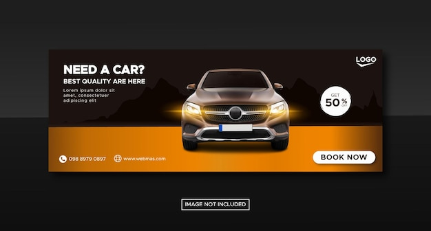 City car rental promotion social media post facebook cover banner template