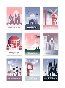 City cards set, landscape template of flyer, poster, book cover, banner, berlin, paris, tokyo, istanbul, brussels, new york, london, barcelona  illustrations