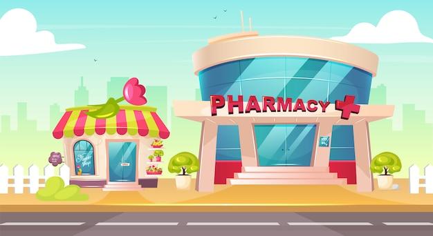 Центр города цветные рисунки. фронт цветочного магазина. аптека стеклянное здание снаружи. вход в аптеку ни с кем снаружи. симпатичный мультяшный городской пейзаж с тротуаром на фоне