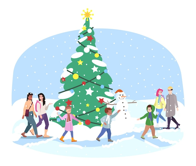 City christmas tree   . kids, adults have fun, play snowballs near outside xmas fir tree  . winter holiday activities. new year outdoor decorations