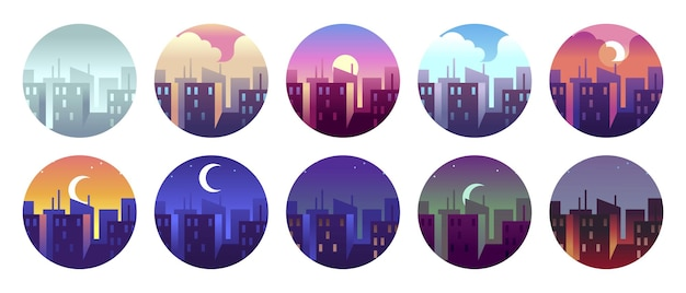 Городские круговые пейзажи. рассвет, утро, город, солнечный день и вечерний закат, сумерки, ночной городской пейзаж. круглый векторный набор иконок. круглые городские иконки