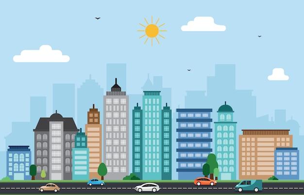 City cityscape skyline landmark building traffic street