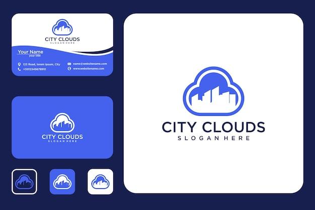 Дизайн логотипа городского облака и визитная карточка