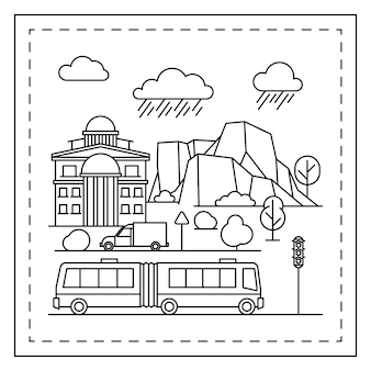 City coloring page for kids