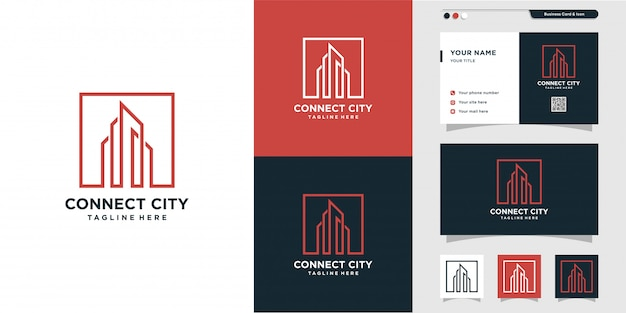 City connection logo and business card design inspiration. city, abstract, card, icon, modern, building, construction premium