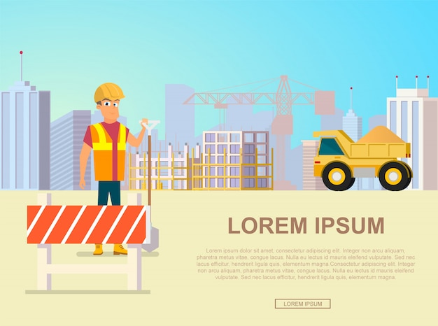 City construction vector landing page template