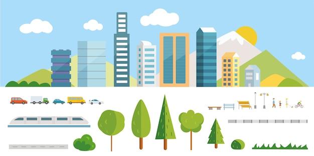 都市コンストラクターのイラスト。あなた自身の町を作るための要素。