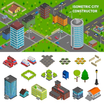 City constructor isometric banners