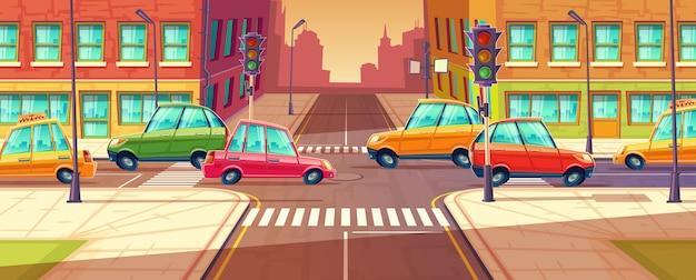 City crossroads, traffic jam, transport moving, vehicles navigation