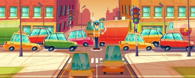 City crossroads, traffic jam, transport moving, vehicles navigation.