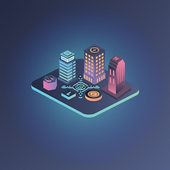 City crypto currency isometric illustration