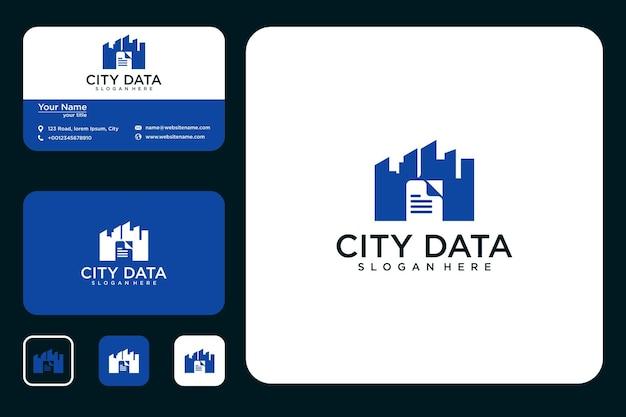 Дизайн логотипа городских данных и визитная карточка