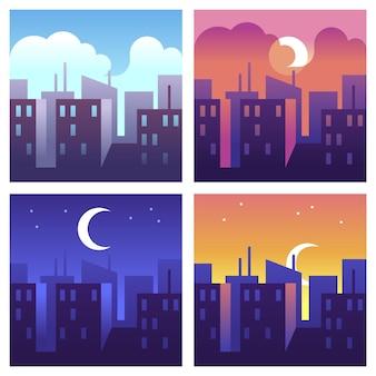 도시의 낮 시간. 아침과 정오, 저녁과 밤의 도시 풍경, 다른 시간에 건물과 고층 빌딩, 현대적인 도시 풍경 개념, 플랫 스타일의 벡터 만화 삽화