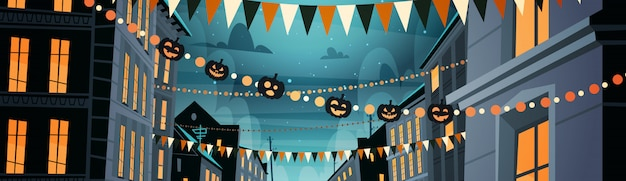 City decorated for halloween celebration, with pumpkins, night party concept