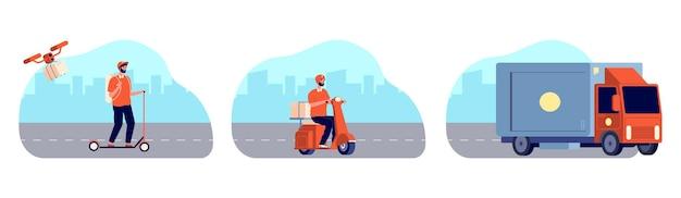 Городская служба доставки. курьер на велосипеде, отслеживание посылки. заказать еду онлайн, современную цифровую доставку и логистическую векторную иллюстрацию. служба доставки, доставка курьером заказ