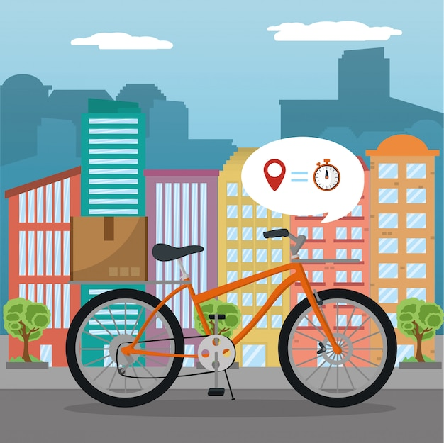 City delivery service vector illustrator