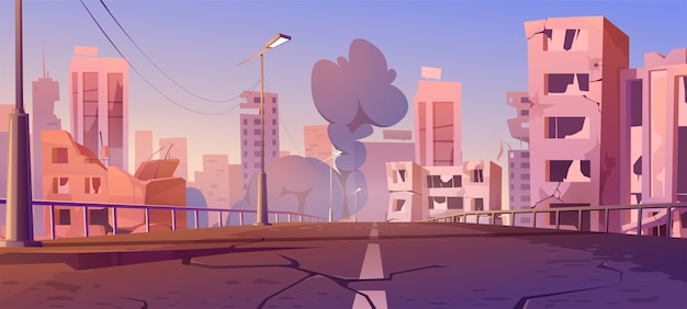 Город разрушают в зоне боевых действий, заброшенные здания и мост с дымом. катаклизм, стихийное бедствие или руины постапокалиптического мира с разбитой дорогой и улицей, карикатура