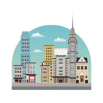 도시 시내 건물 스타일
