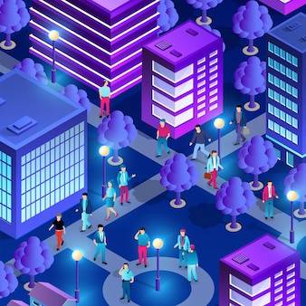 City downtown center night neon ultraviolet walking people of isometric buildings