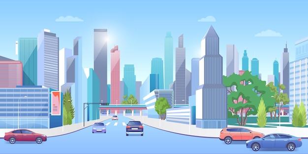 여름 도시 파노라마 풍경, 도로에 자동차, 현대 도시 건축 거리에 시내 도시