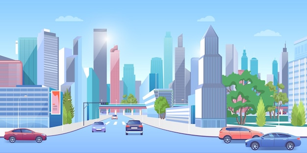 City downtown in summer urban panoramic cityscape, cars on road, modern town architecture street