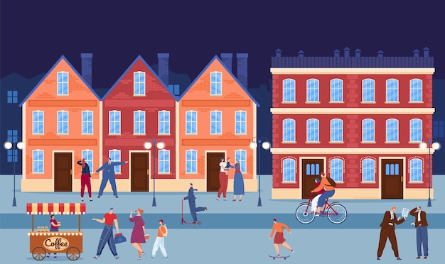 City downtown urban building in evening vector illustration flat people character walk at town street family drink coffee at cityscape