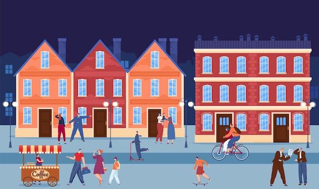 Городской центр городского здания в вечернем векторной иллюстрации плоский характер людей гуляет по городской улице семья пьет кофе на городском пейзаже