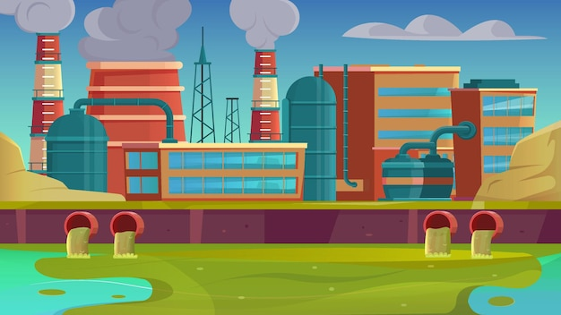 City drains flat background with factory urban landscape and river pollution illustration