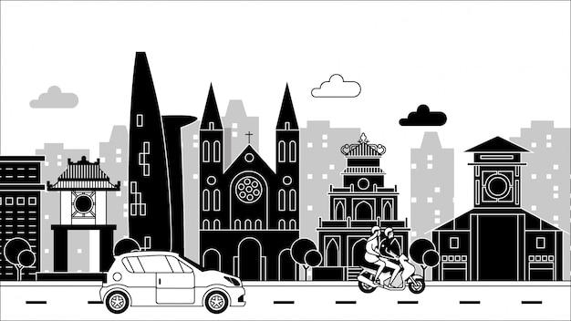 City drawing illustration on black
