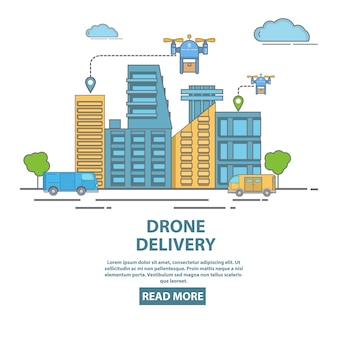 City drone delivery concept vector illustration. quadcopters transporting packages, food or other goods. flat linear style design poster, flyer for drone delivery company.