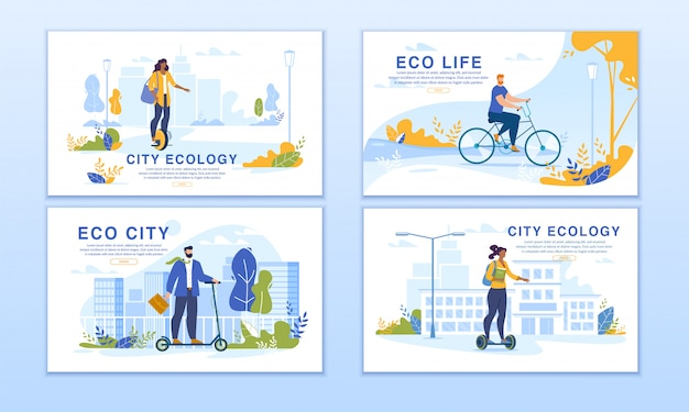 City dwellers riding eco transport banner set