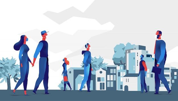 City dwellers wearing masks, social distancing