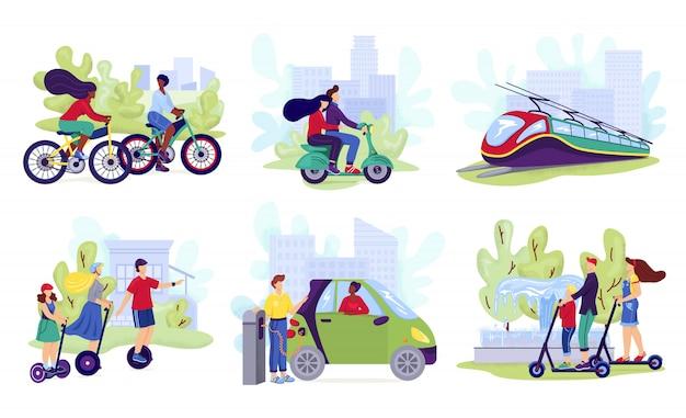 市電気輸送セット、イラスト。現代の電動スクーター、車、自転車、スケートボード、セグウェイに乗っている人。環境にやさしい代替技術、輸送車両のコレクション。