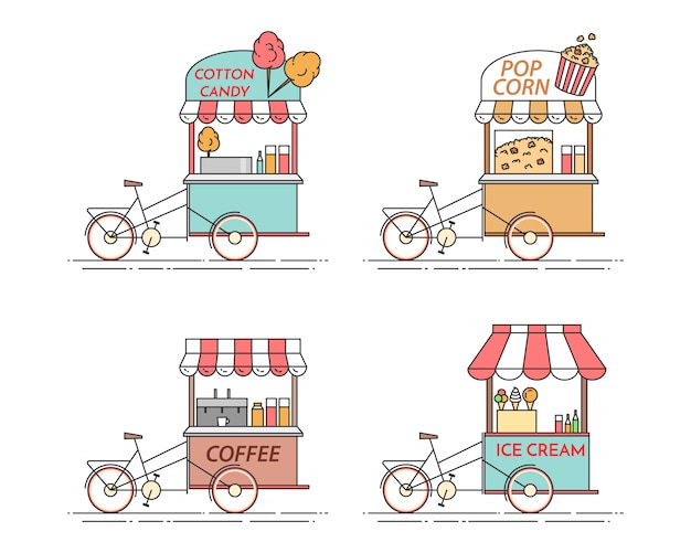 City elements of coffee, popcorn, ice cream, cotton candy bicycles. cart on wheels. food and drink kiosk . vector illustration. flat line art. elements for building, housing, real estate market