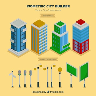 City elements in isometric view
