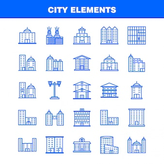 City elements line icons set for infographics, mobile ux/ui kit